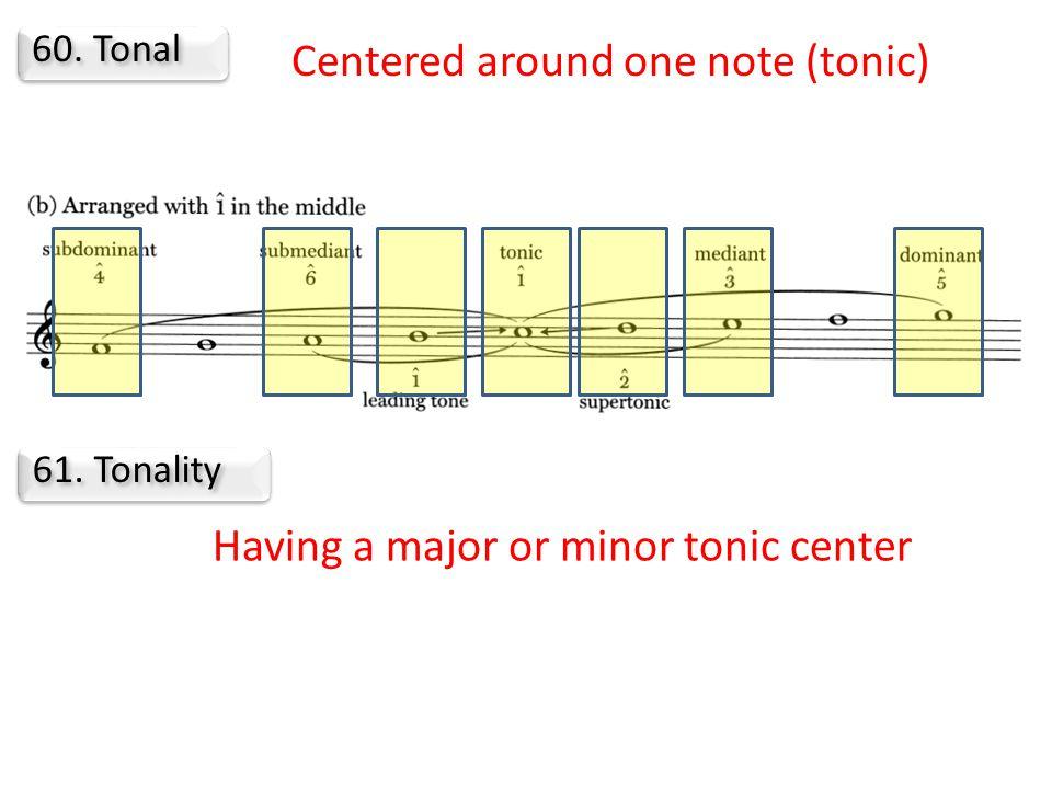 60. Tonal 61. Tonality Centered around one note (tonic) Having a major or minor tonic center