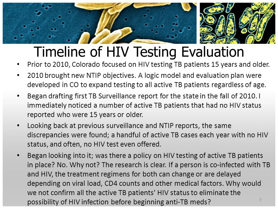 Timeline of HIV Testing Evaluation Prior to 2010, Colorado focused on HIV testing TB patients 15 years and older.
