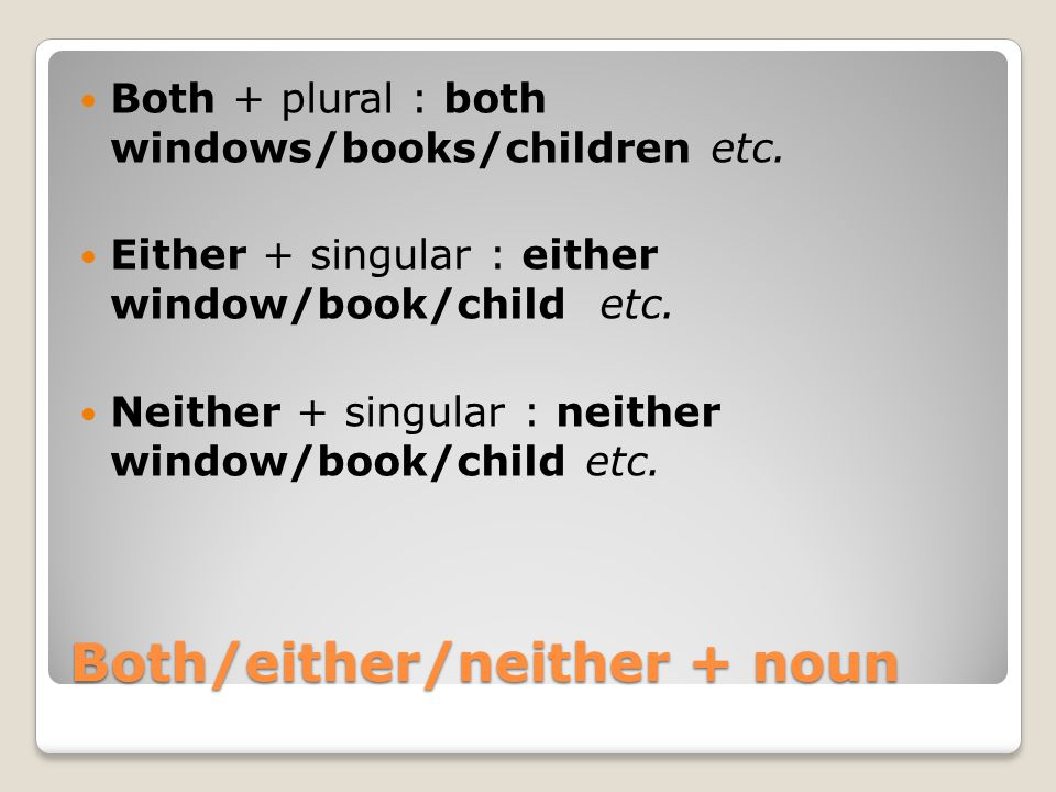 Both/either/neither + noun Both + plural : both windows/books/children etc. Either + singular : either window/book/child etc. Neither + singular : nei