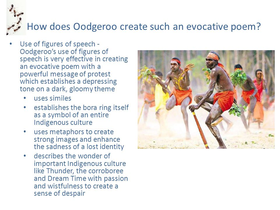Oodgeroo's skilled use of figurative language Simile – the many white men scurry around like ants conjures up powerful derogatory images of selfish busyness – a chaotic lifestyle that is the antithesis of Indigenous culture Metaphors (an extensive use to emphasise oneness with the land/spiritual world) – we are the old ways – we are the sacred ceremonies – we are the lightning bolt over Gaphembah Hill – we are the shadow ghosts... Imagery – the quiet daybreak paling the dark lagoon – camp fires burn low Repetition – the repetition of the word gone is extremely effective at emphasising loss – the repetition of the words We are in relation to the environment and legend emphasise the sense of belonging as well as the intense desire for oneness Lines like Notice of the estate agent reads: 'Rubbish may be tipped here' are particularly anguished statements that downgrade the worth of the bora ring and by default, the Indigenous culture Lines like They sit and are confused, they cannot say their thoughts is a line that indicates the depth of their pain – their emotions are so turbulent they can not be uttered or explained