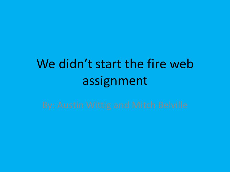 We didn't start the fire web assignment By: Austin Wittig and Mitch Belville