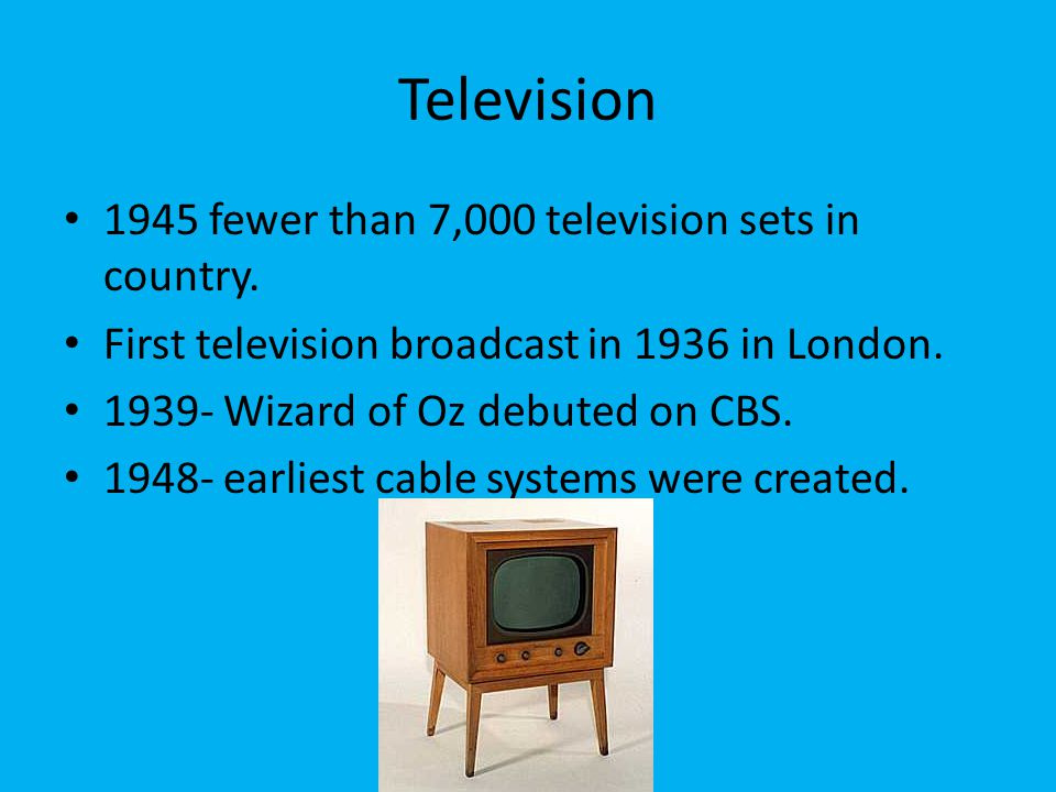 Television 1945 fewer than 7,000 television sets in country.