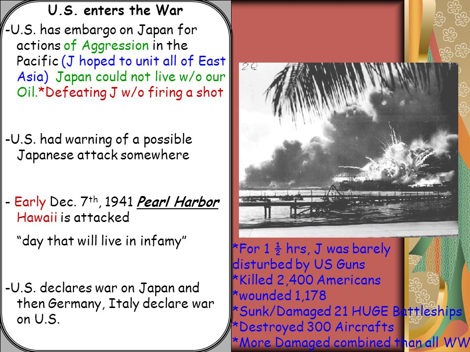 U.S. enters the War -U.S. has embargo on Japan for actions of Aggression in the Pacific (J hoped to unit all of East Asia) Japan could not live w/o ou