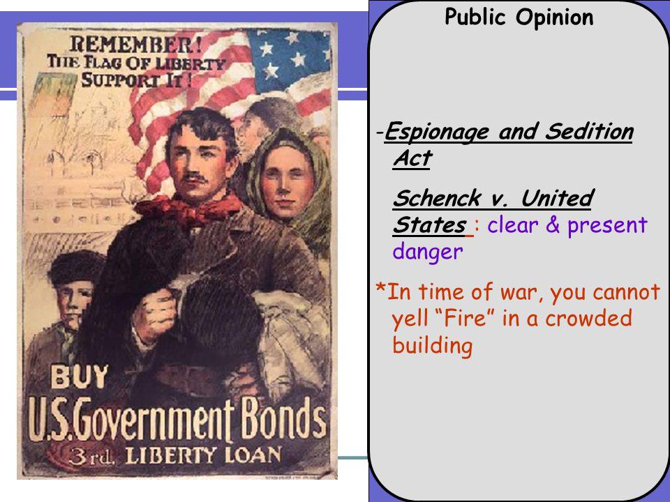 Public Opinion -Espionage and Sedition Act Schenck v.