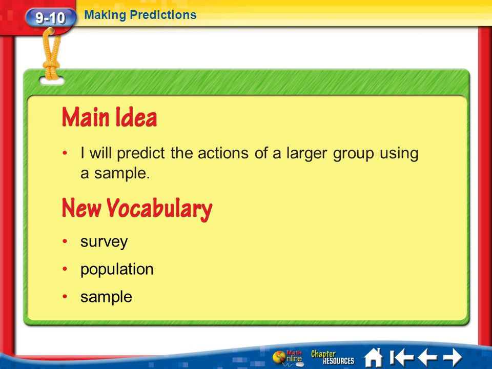 9-10 Making Predictions Lesson 10 MI/Vocab I will predict the actions of a larger group using a sample. survey population sample