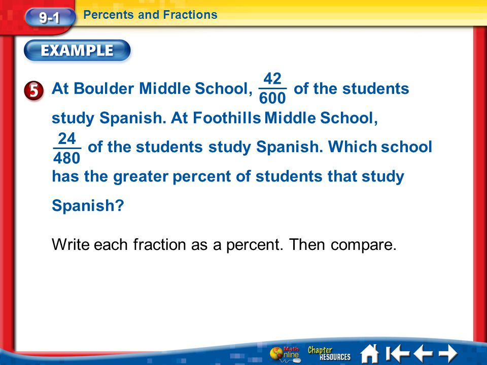 Lesson 1 Ex5 9-1 Percents and Fractions At Boulder Middle School, of the students study Spanish. At Foothills Middle School, of the students study Spa