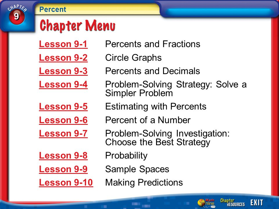 Chapter Menu Lesson 9-1Lesson 9-1Percents and Fractions Lesson 9-2Lesson 9-2Circle Graphs Lesson 9-3Lesson 9-3Percents and Decimals Lesson 9-4Lesson 9