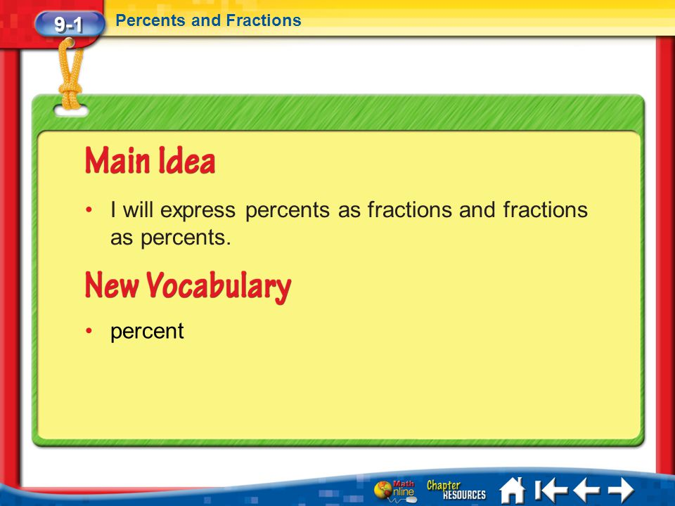 9-1 Percents and Fractions Lesson 1 MI/Vocab I will express percents as fractions and fractions as percents. percent