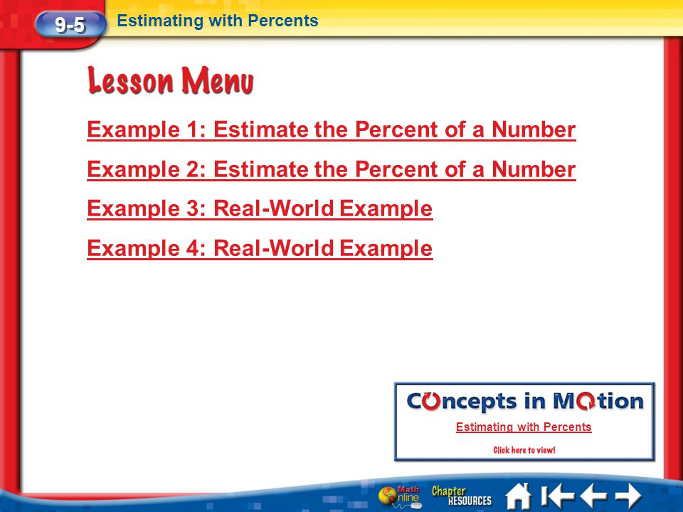 Lesson 5 Menu Example 1: Estimate the Percent of a Number Example 2: Estimate the Percent of a Number Example 3: Real-World Example Example 4: Real-Wo