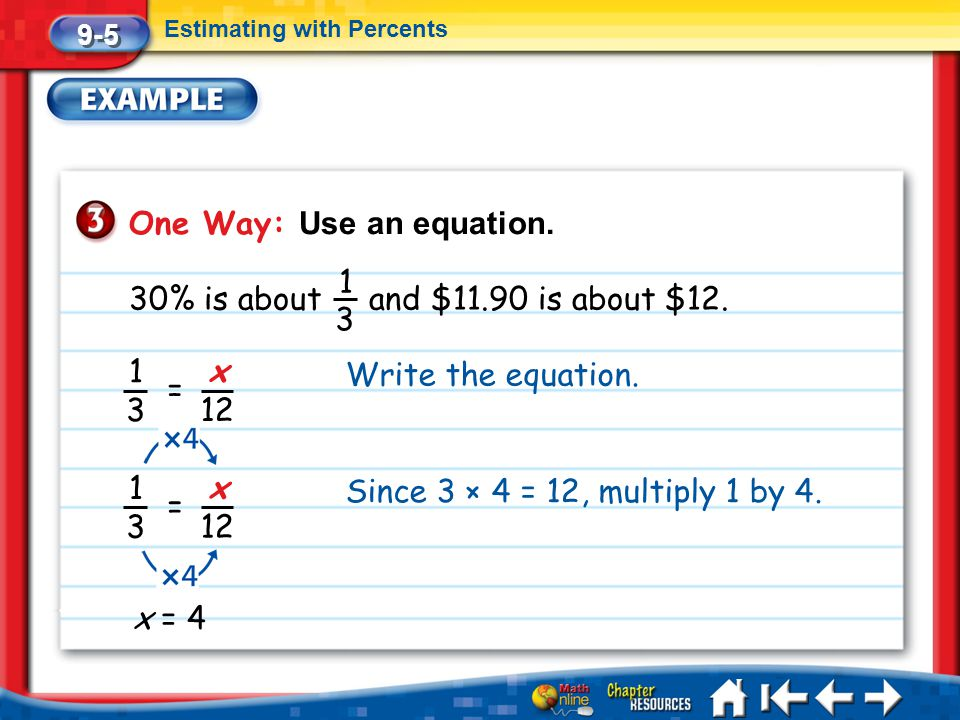 Lesson 5 Ex3 9-5 Estimating with Percents One Way: Use an equation. 30% is about and $11.90 is about $12. 1 3 1 3 = x 12 Write the equation. 1 3 = x 1