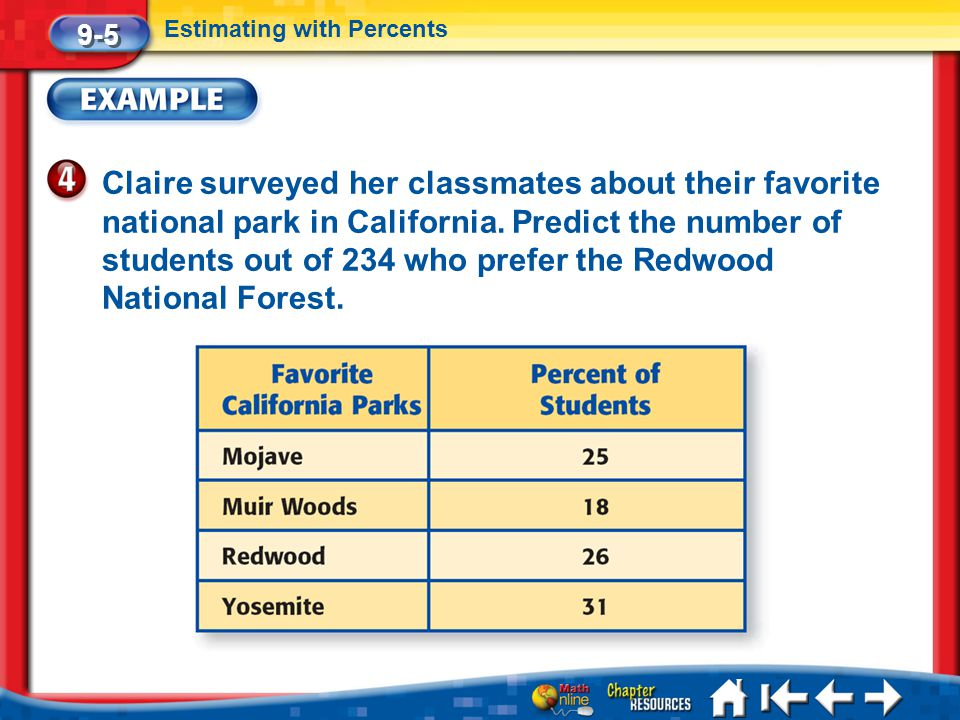 Lesson 5 Ex4 Claire surveyed her classmates about their favorite national park in California. Predict the number of students out of 234 who prefer the