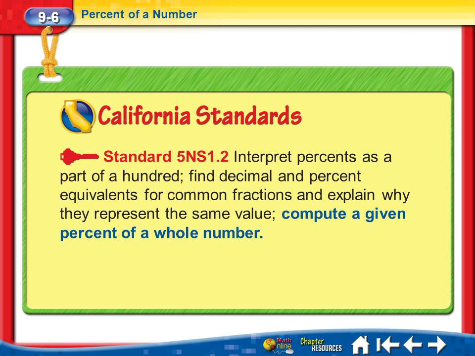 9-6 Percent of a Number Lesson 6 Standard 1 Standard 5NS1.2 Interpret percents as a part of a hundred; find decimal and percent equivalents for common