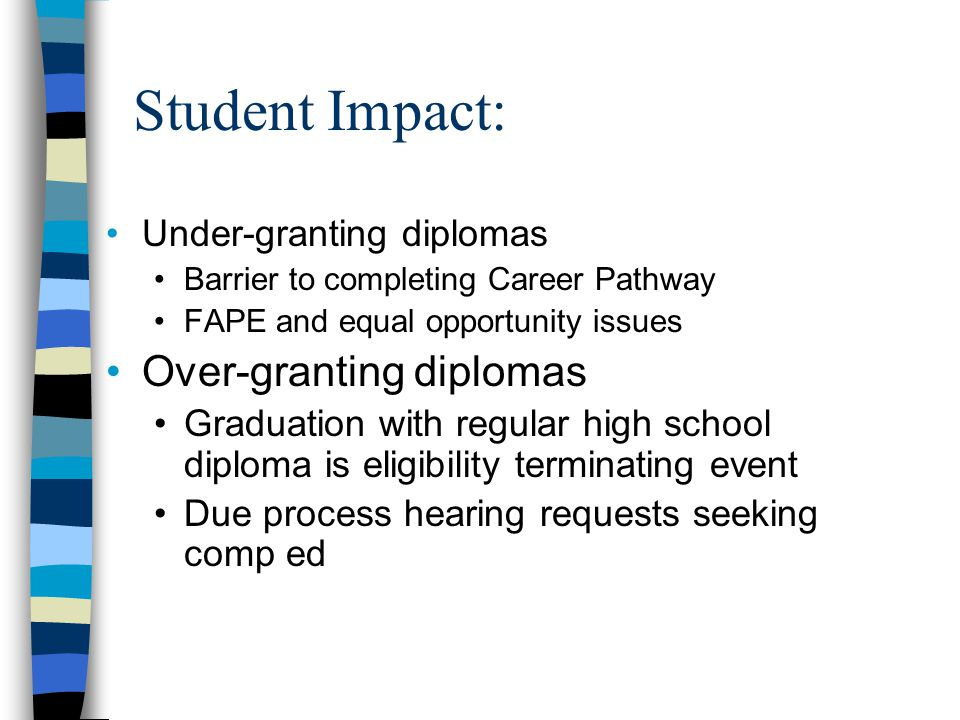 Student Impact: Under-granting diplomas Barrier to completing Career Pathway FAPE and equal opportunity issues Over-granting diplomas Graduation with regular high school diploma is eligibility terminating event Due process hearing requests seeking comp ed