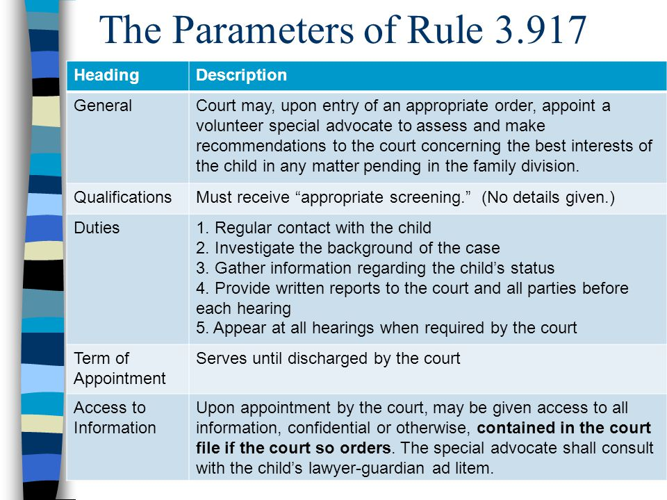 The Parameters of Rule 3.917 HeadingDescription GeneralCourt may, upon entry of an appropriate order, appoint a volunteer special advocate to assess and make recommendations to the court concerning the best interests of the child in any matter pending in the family division.