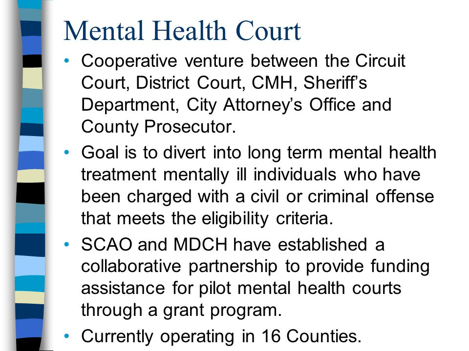 Mental Health Court Cooperative venture between the Circuit Court, District Court, CMH, Sheriff's Department, City Attorney's Office and County Prosecutor.