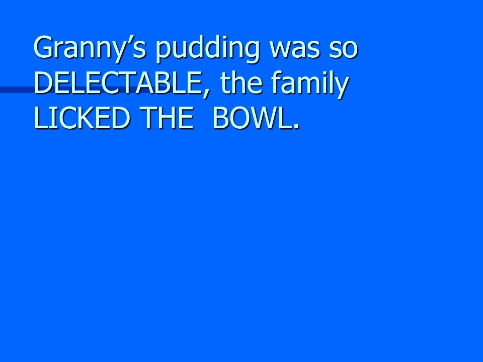 Granny's pudding was so DELECTABLE, the family LICKED THE BOWL.