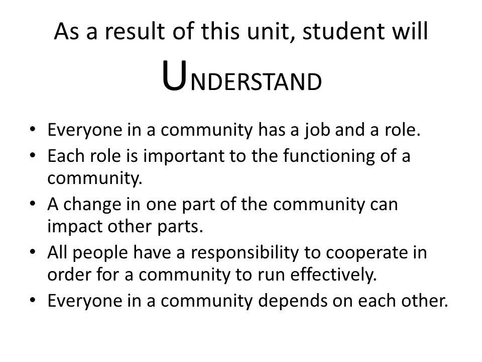 Lesson Five: Concluding activity Final assessment: Demonstrate cooperation Demonstrate understanding roles and responsibilities Show interdependence (community helpers) Model how we act in the classroom is how we act in school
