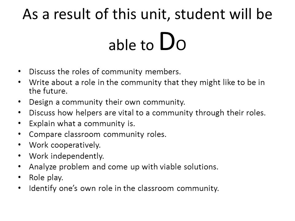As a result of this unit, student will be able to D O Discuss the roles of community members.