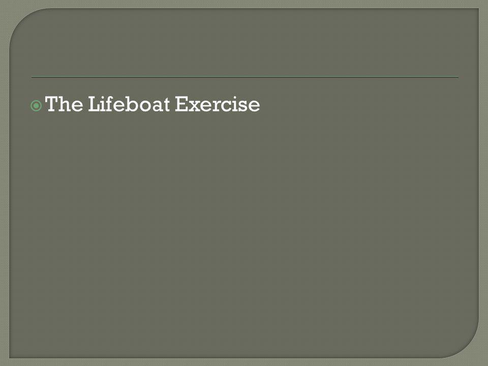  The Lifeboat Exercise