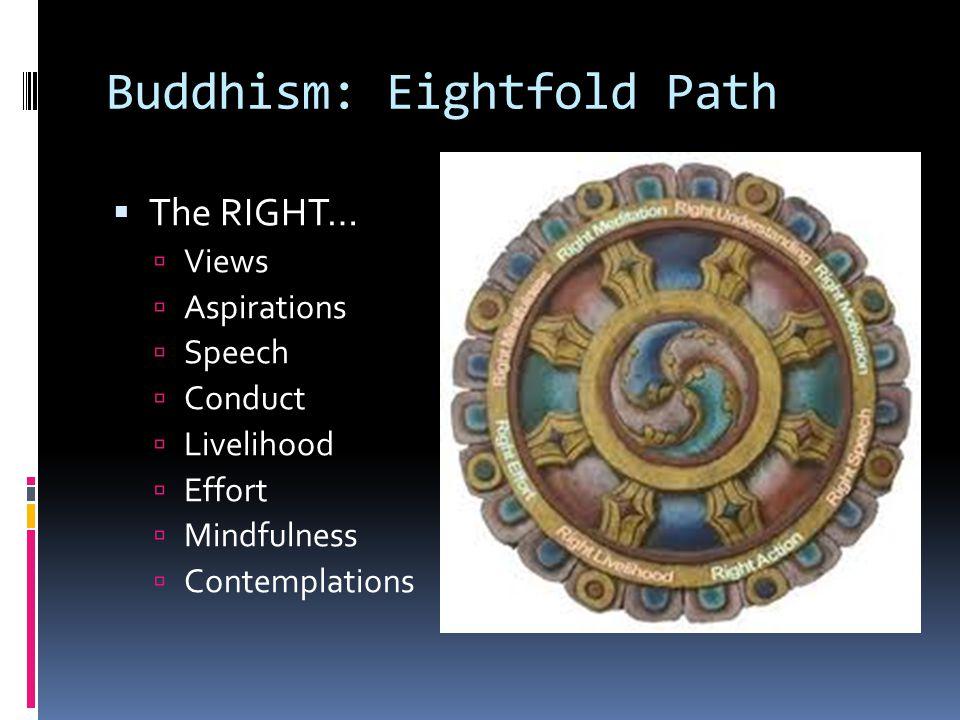 Buddhism: Eightfold Path  The RIGHT…  Views  Aspirations  Speech  Conduct  Livelihood  Effort  Mindfulness  Contemplations