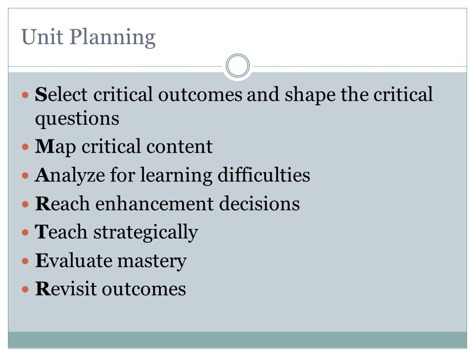 Select critical outcomes and shape the critical questions 1.Problem :  Amount of information  Depth vs.