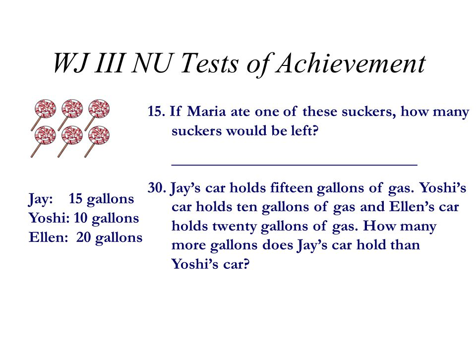 WJ III NU Tests of Achievement Test 18: Quantitative Concepts –Requires applying mathematical concepts and analyzing numerical relationships (use Subject Response Booklet) –Broken into two subtests –Each item in 18B: Number Series has a 1- minute time limit