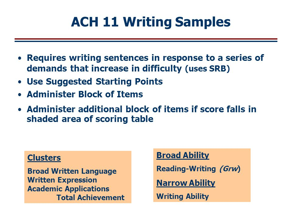 Requires writing sentences in response to a series of demands that increase in difficulty (uses SRB) Use Suggested Starting Points Administer Block of