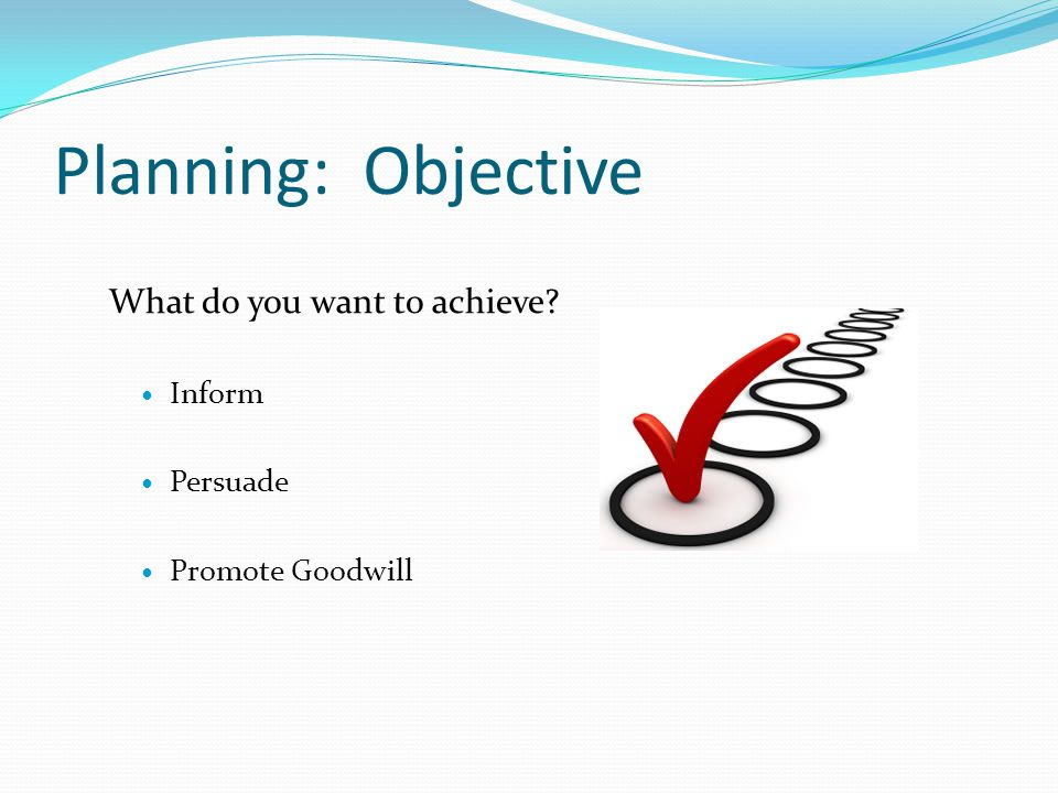 Planning: Choose a Channel Blog E-mail Face-to-face conversation Face-to-face group meeting Fax Instant message (chat) Letter Memo Phone call Report or proposal Voice mail message Videoconference wiki Textbook: page 36 chart