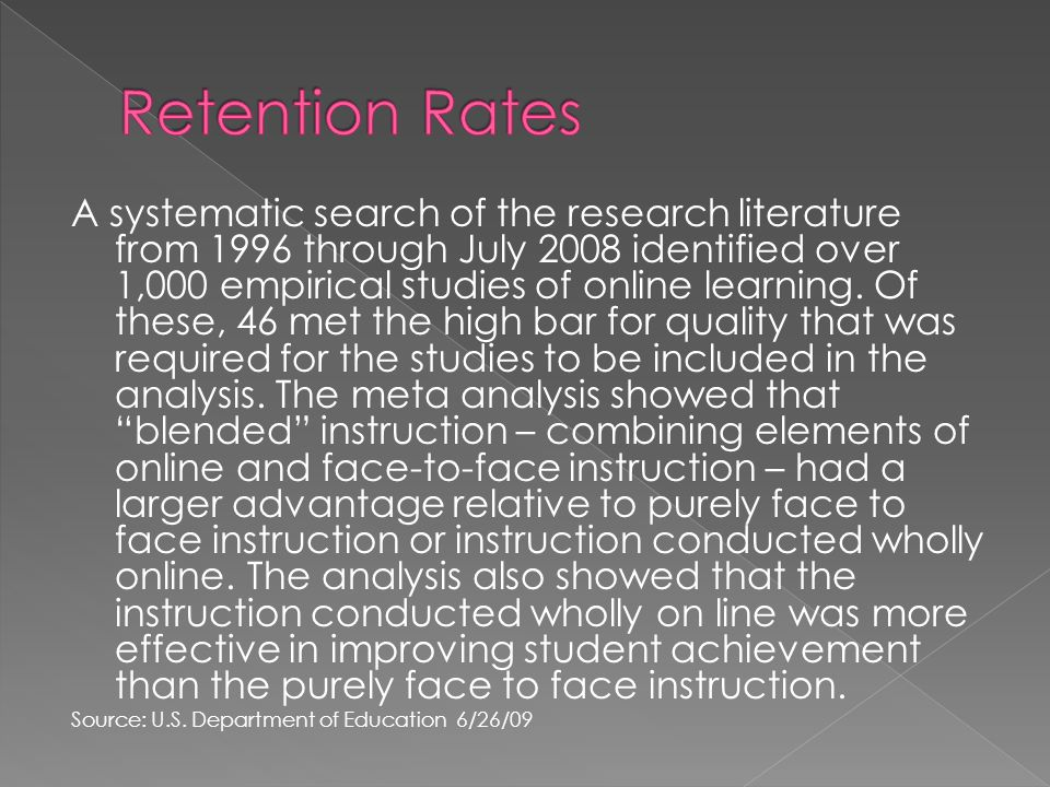 A systematic search of the research literature from 1996 through July 2008 identified over 1,000 empirical studies of online learning.