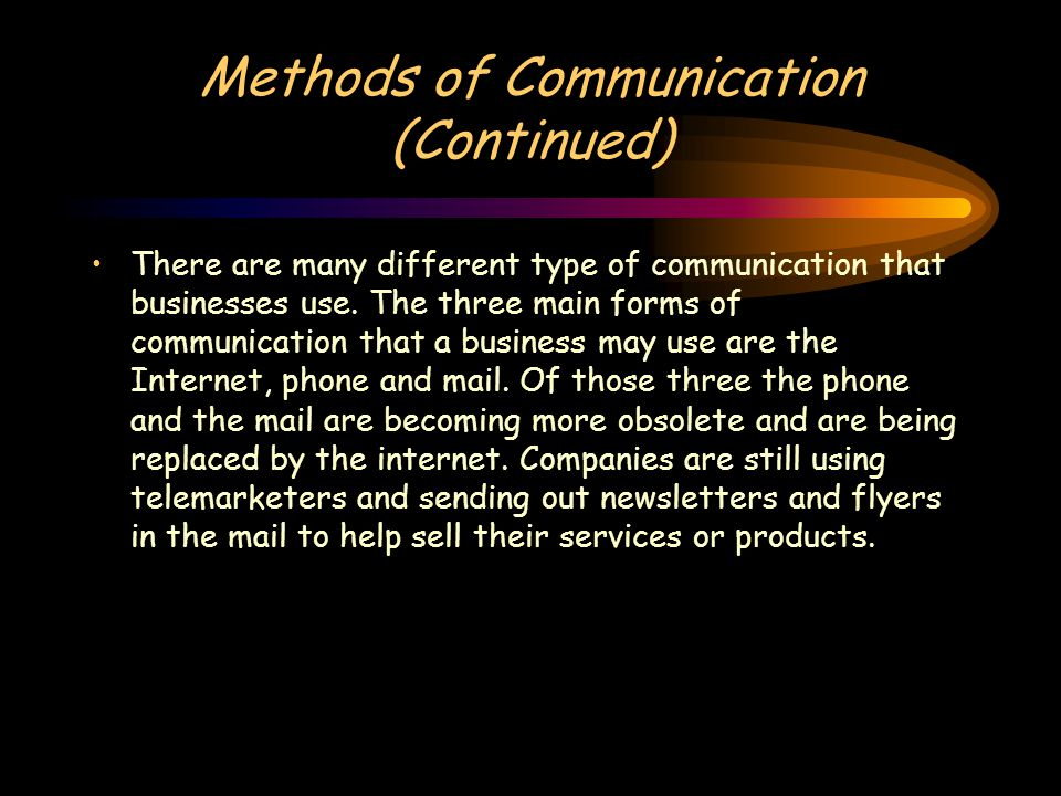 Methods of Communication (Continued) There are many different type of communication that businesses use.