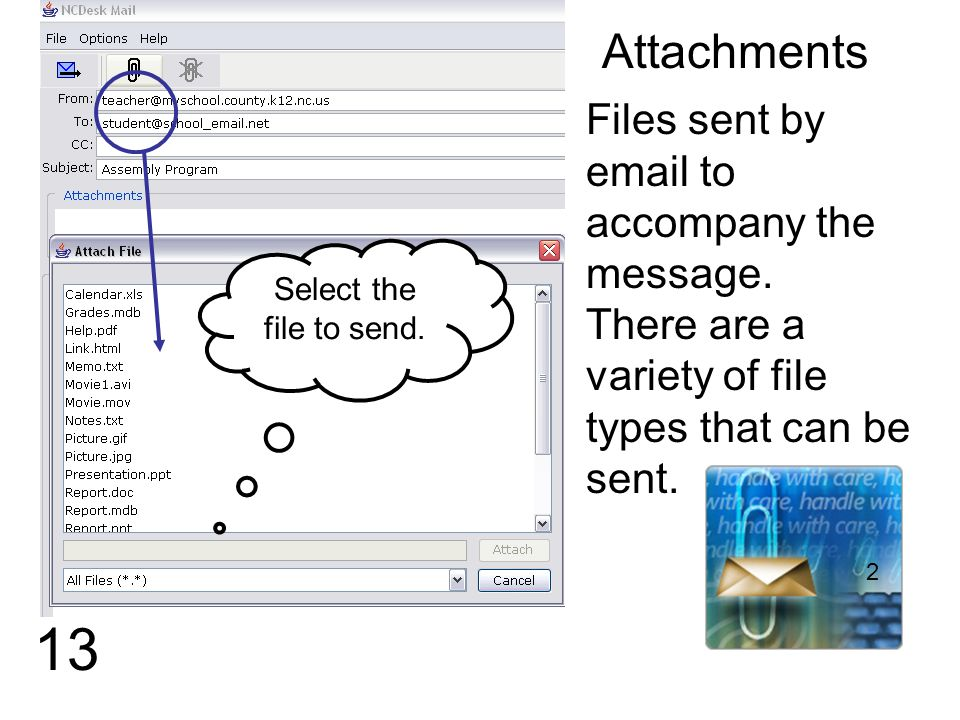 13 Attachments Files sent by email to accompany the message.