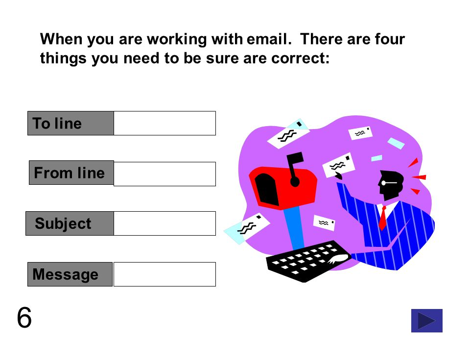 7 From and To require a correct address Addresses have two parts: the user name of the person the email is going to and the domain that is hosting their email account.