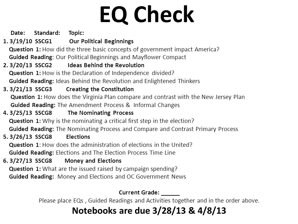 EQ Check Date: Standard: Topic: 1.