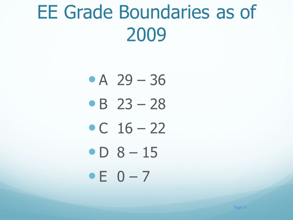 EE Grade Boundaries as of 2009 A29 – 36 B23 – 28 C16 – 22 D8 – 15 E0 – 7 Page 9