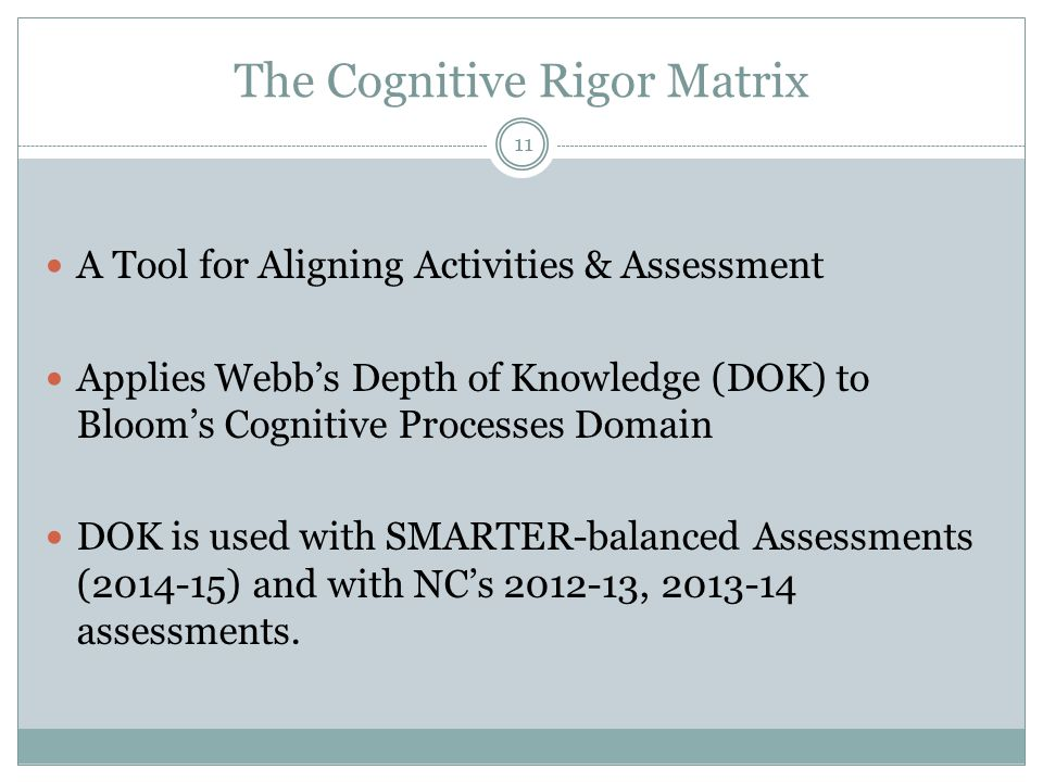 The Cognitive Rigor Matrix A Tool for Aligning Activities & Assessment Applies Webb's Depth of Knowledge (DOK) to Bloom's Cognitive Processes Domain DOK is used with SMARTER-balanced Assessments (2014-15) and with NC's 2012-13, 2013-14 assessments.
