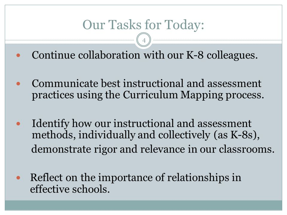 Continue collaboration with our K-8 colleagues.