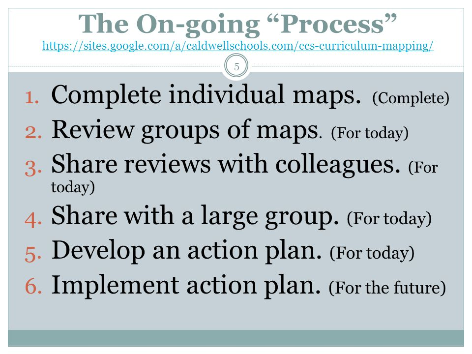 The On-going Process https://sites.google.com/a/caldwellschools.com/ccs-curriculum-mapping/ https://sites.google.com/a/caldwellschools.com/ccs-curriculum-mapping/ 1.