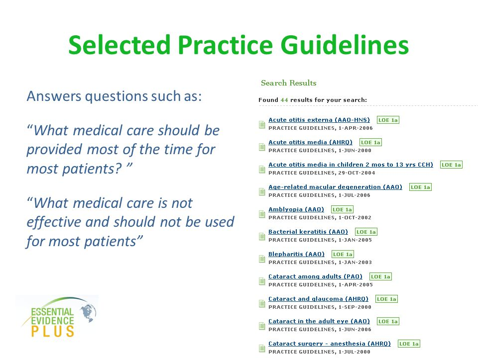 Selected Practice Guidelines Answers questions such as: What medical care should be provided most of the time for most patients.