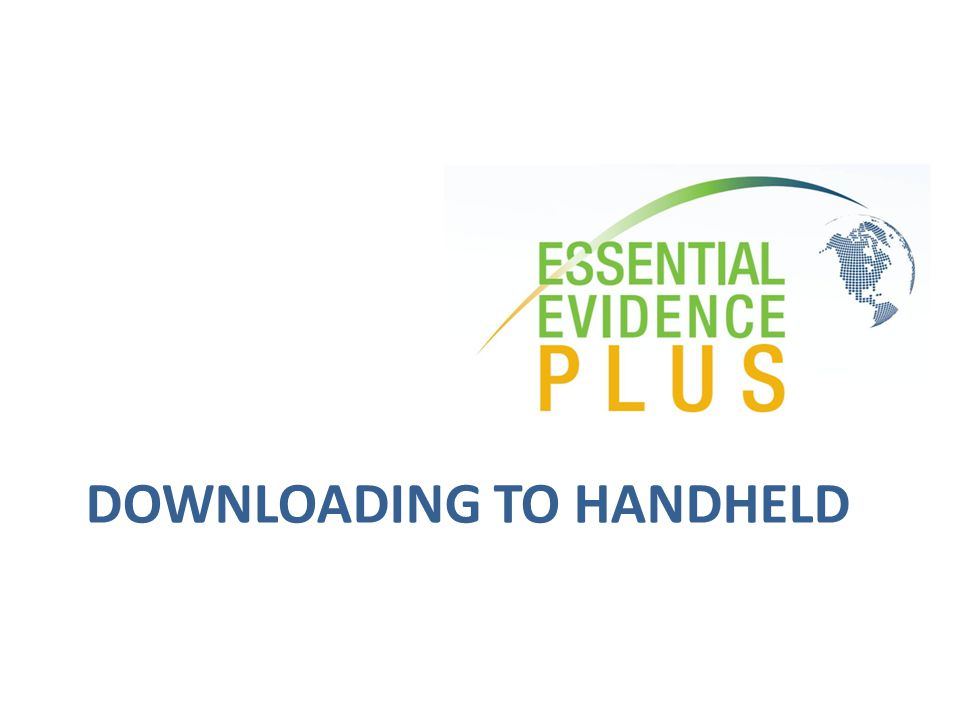 DOWNLOADING TO HANDHELD