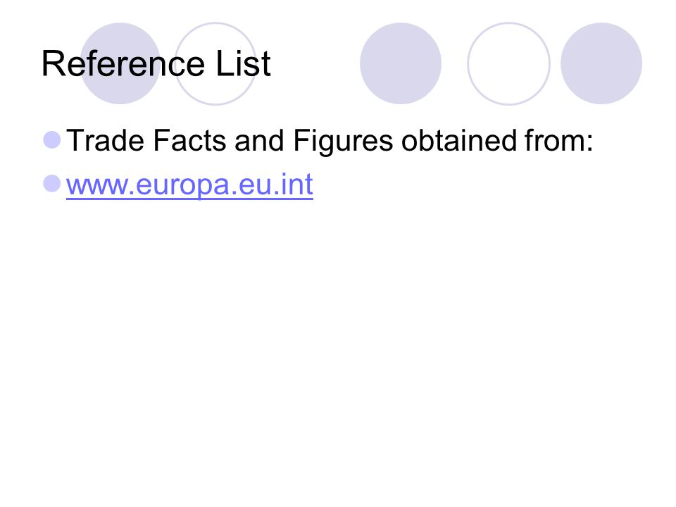 Reference List Trade Facts and Figures obtained from: www.europa.eu.int