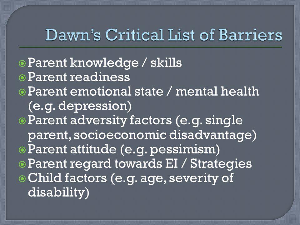  Parent knowledge / skills  Parent readiness  Parent emotional state / mental health (e.g.