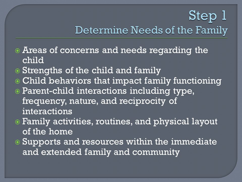  Areas of concerns and needs regarding the child  Strengths of the child and family  Child behaviors that impact family functioning  Parent-child interactions including type, frequency, nature, and reciprocity of interactions  Family activities, routines, and physical layout of the home  Supports and resources within the immediate and extended family and community