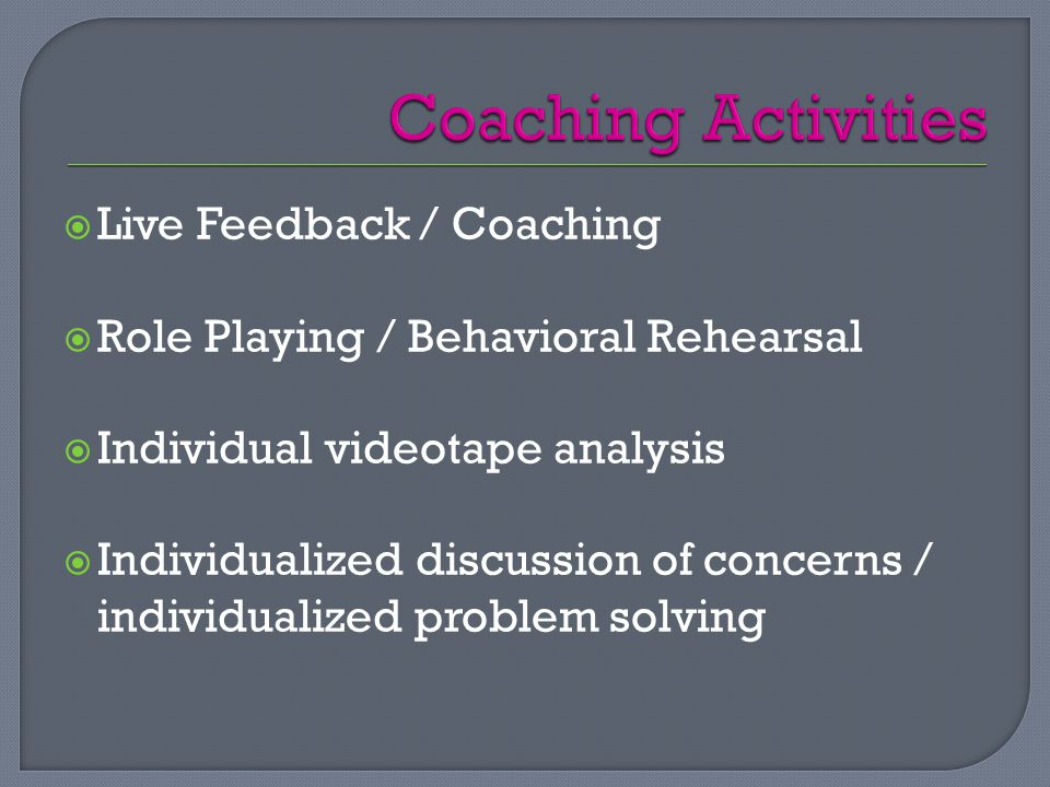  Live Feedback / Coaching  Role Playing / Behavioral Rehearsal  Individual videotape analysis  Individualized discussion of concerns / individualized problem solving