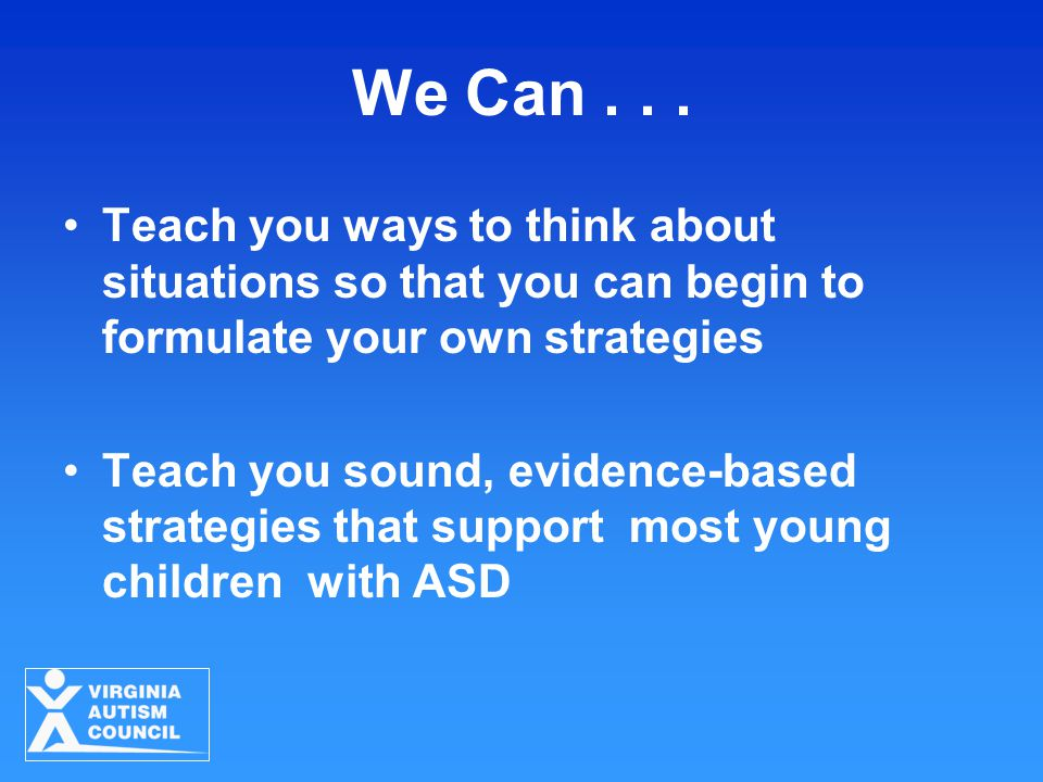 We Can... Teach you ways to think about situations so that you can begin to formulate your own strategies Teach you sound, evidence-based strategies t