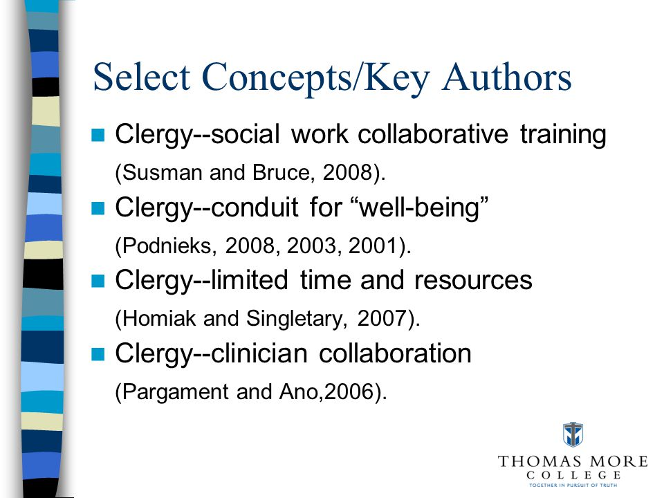 Select Concepts/Key Authors Religious--community health assets mapping (Gunderson, 2004).