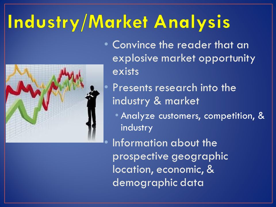 Convince the reader that an explosive market opportunity exists Presents research into the industry & market Analyze customers, competition, & industr