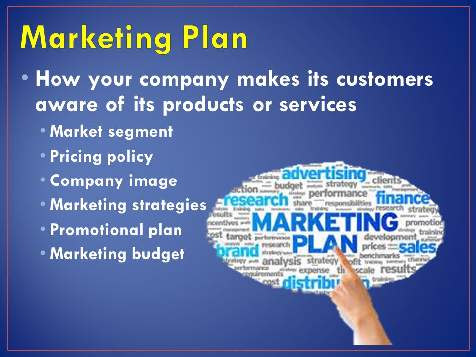 How your company makes its customers aware of its products or services Market segment Pricing policy Company image Marketing strategies Promotional pl