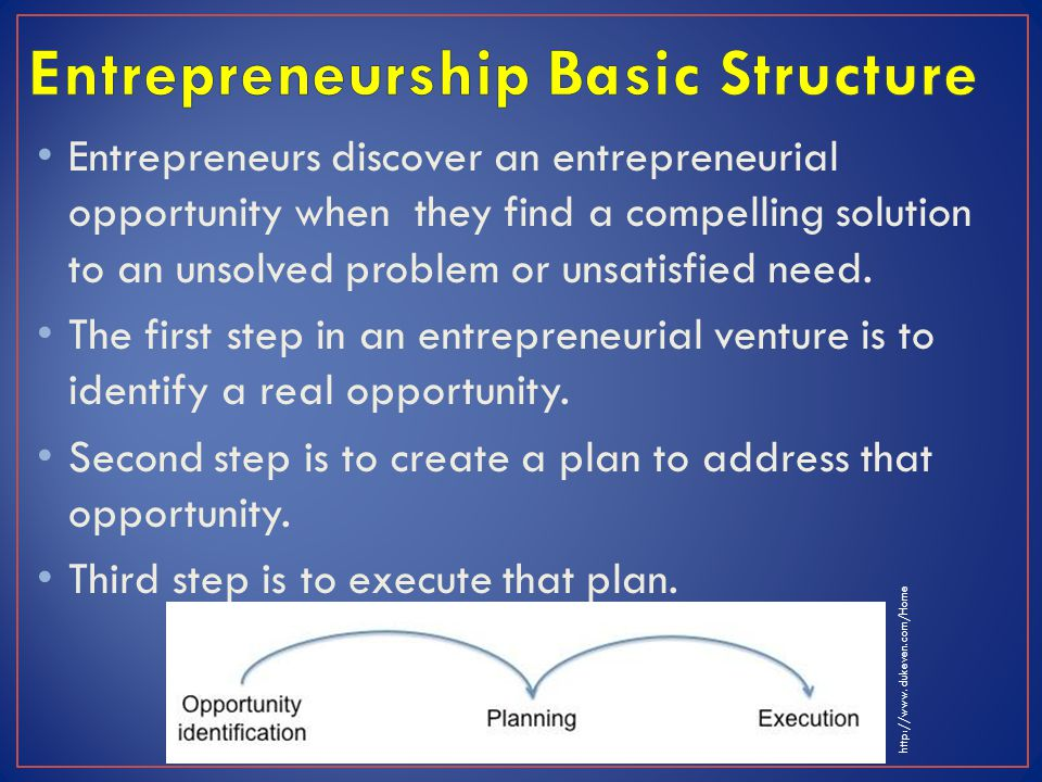 Entrepreneurs discover an entrepreneurial opportunity when they find a compelling solution to an unsolved problem or unsatisfied need. The first step