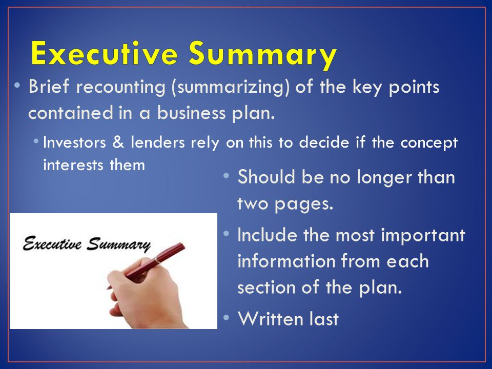 Brief recounting (summarizing) of the key points contained in a business plan. Investors & lenders rely on this to decide if the concept interests the