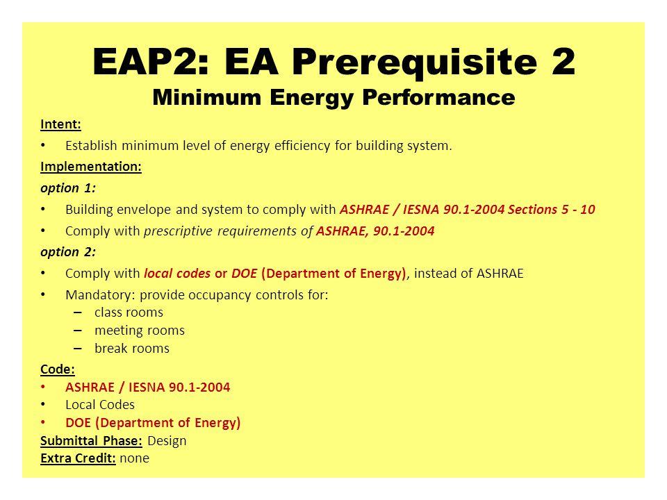 EAP2: EA Prerequisite 2 Minimum Energy Performance Intent: Establish minimum level of energy efficiency for building system.